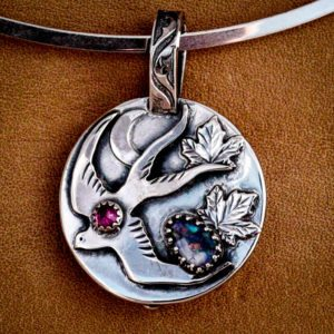 opal and ruby handmade pendant with silver crescent moon