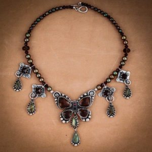 Faceted smokey quartz, Labradorite and garnet custom jewelry handmade butterfly