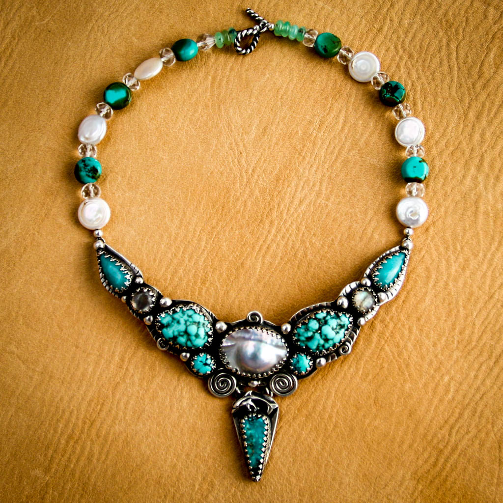 Oceana Goddess-Mother of Pearl, Turquoise