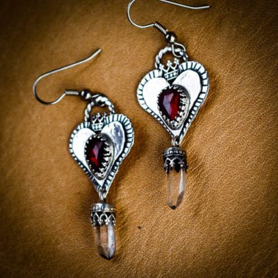 Angela Blessing Jewelry - Garnet Hearts with Quartz Crystal Drop